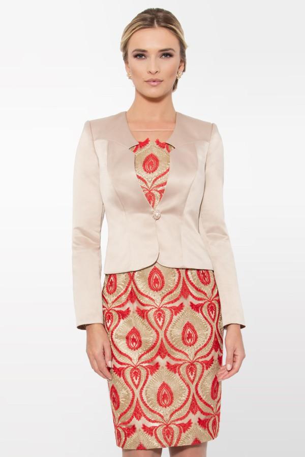Costum cu rochie Kendra 9254 rosu