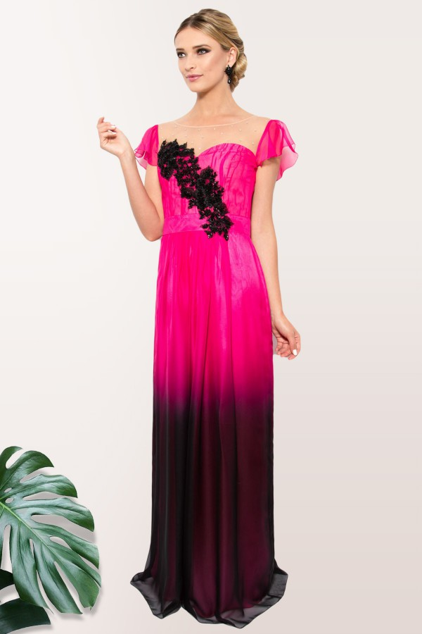 Rochie lunga R 879 voal ciclam