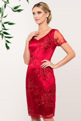 Rochie eleganta R 804 dantela rosie