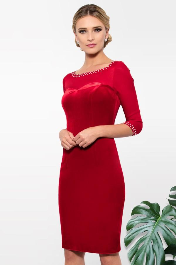 Rochie catifea R 750 rosie