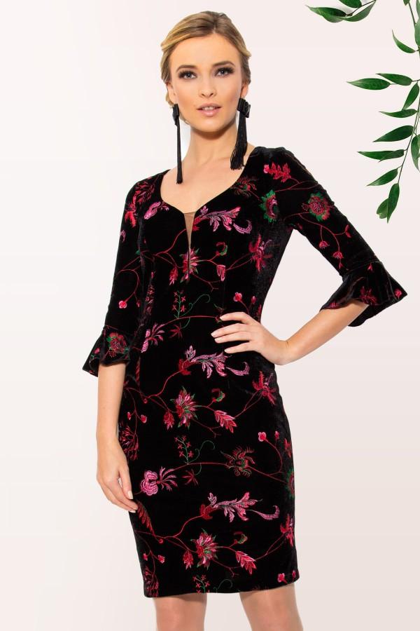 Rochie eleganta R 954 flori roze