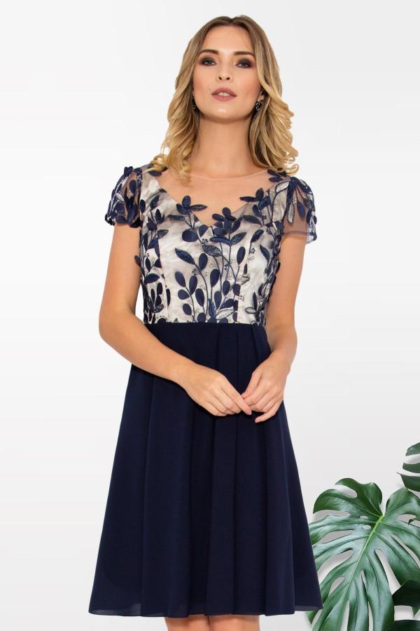 Rochie eleganta R 027 bleumarin