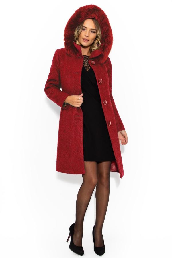 Palton cu gluga 7219 rosu