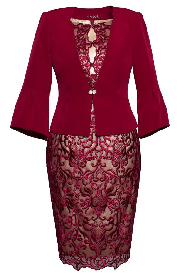 Costum cu rochie 9354 grena