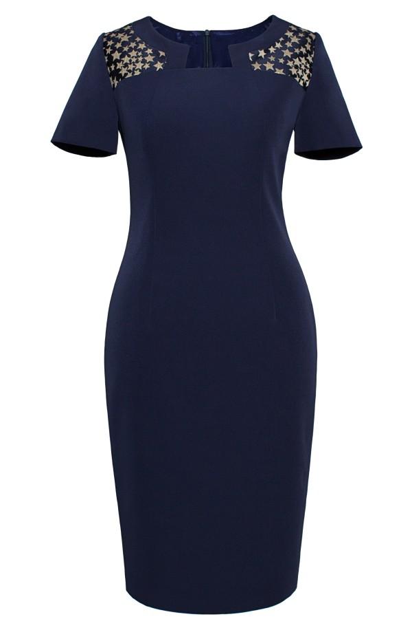Costum cu rochie Frederica 9355 bleumarin