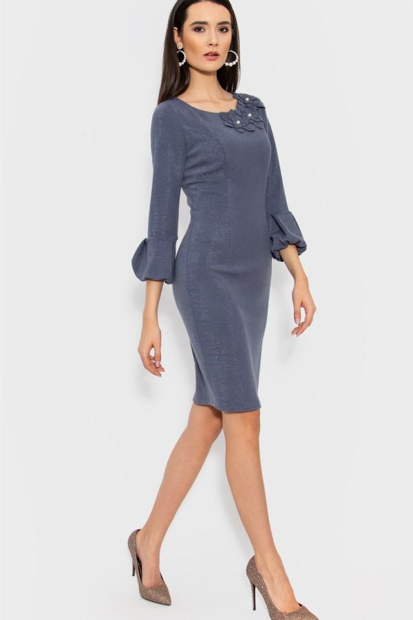 Rochie casual R 063 gri-bleu
