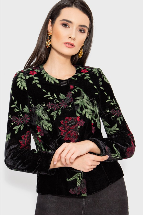 Sacou elegant S 988 flori rosii