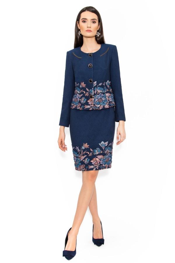 Costum cu rochie 9365 bleumarin deschis