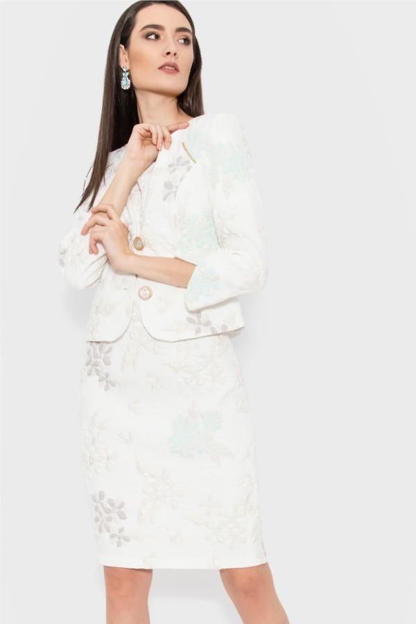 Costum cu rochie 9369 crem-turcoaz