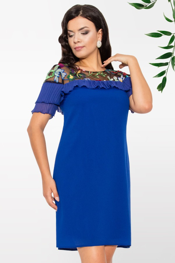 Rochie din voal R 997 albastru