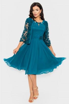 Costum elegant 9378 turcoaz