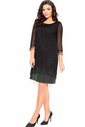 Rochie eleganta Kalida negru-verde