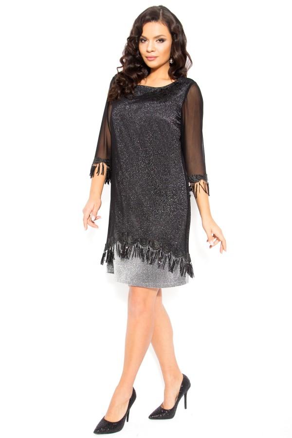 Rochie eleganta Kalida negru-argintiu