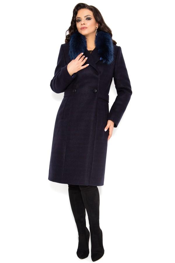 Palton lung din stofa cu lana 7254 bleumarin