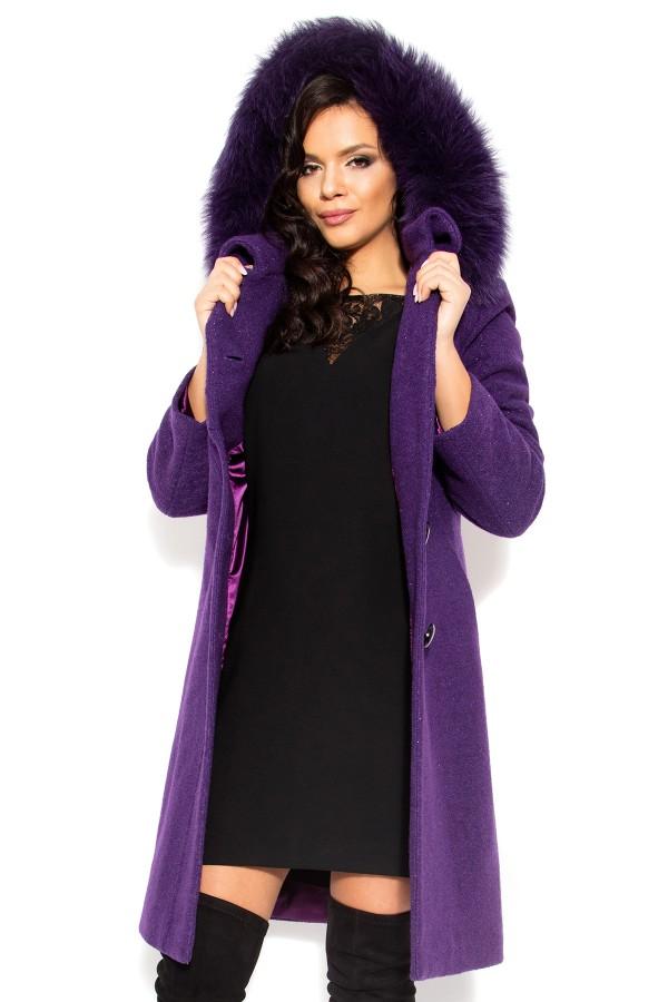 Palton din stofa Electra mov