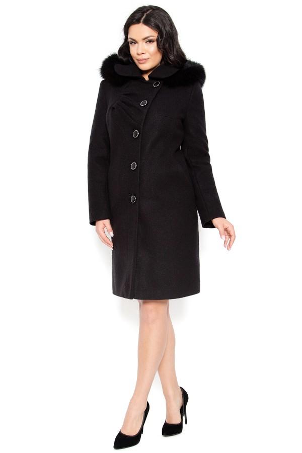 Palton din stofa Electra negru