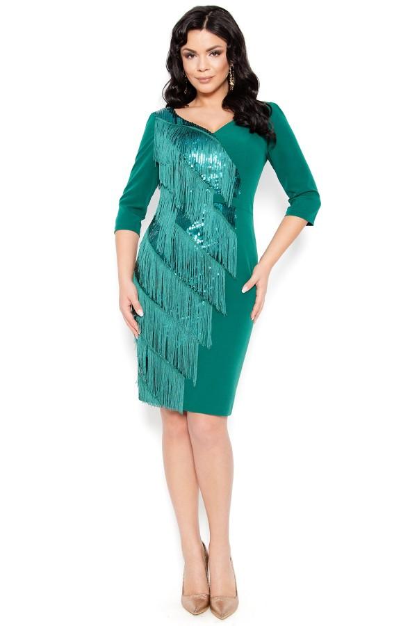 Rochie eleganta cu franjuri R 227 verde