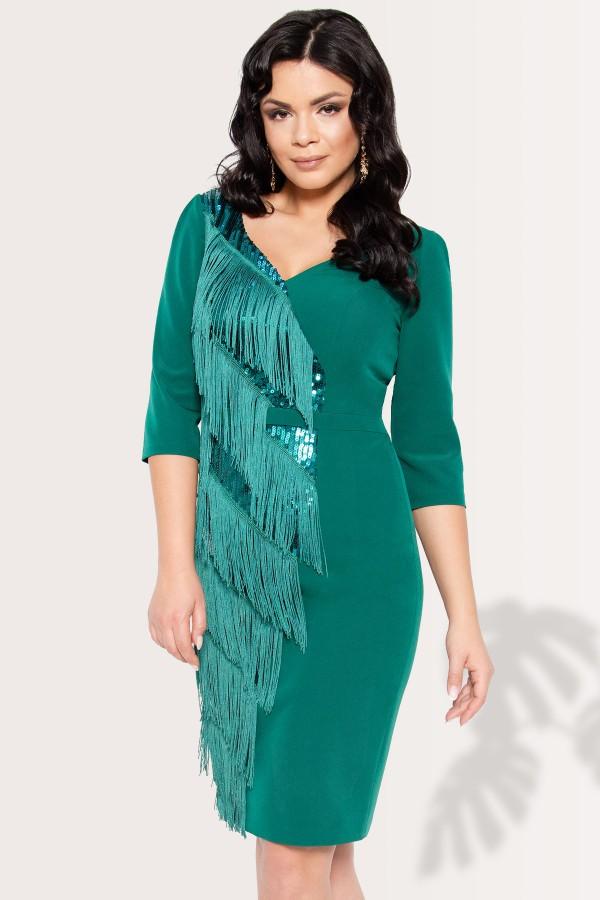 Rochie eleganta cu franjuri Indira verde