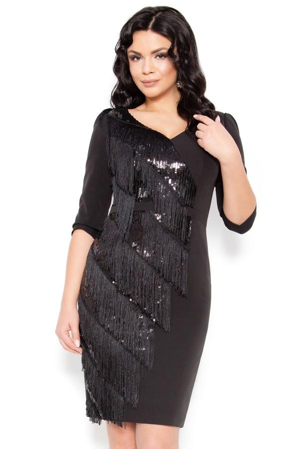 Rochie eleganta cu franjuri Indira negru