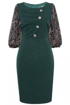 Rochie eleganta R 201 verde inchis