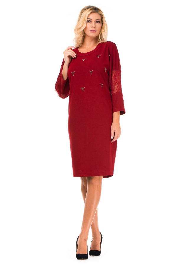 Rochie casual R 8233 rosu