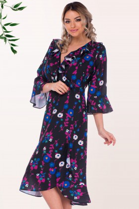 Rochie R 0630 flori albastre