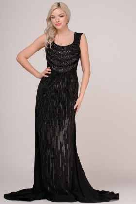 Rochie lunga de seara R 752 negru