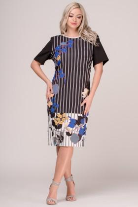 Rochie de zi R 269 negru-ivoire