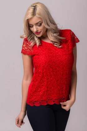 Bluza casual B 85 dantela rosie